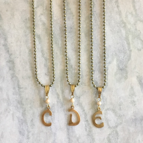 in Antiqued Brass or Silver. Letter Charm Necklace with Birds